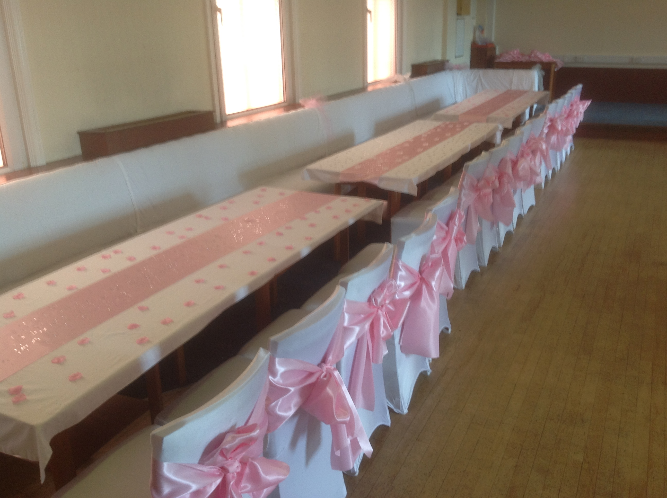 Hall decorated for wedding